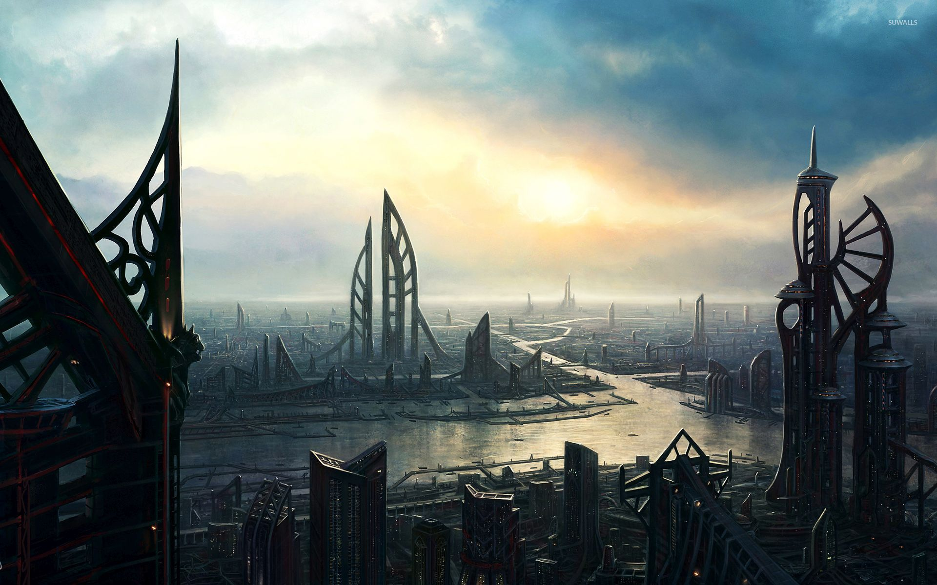 light-in-the-sci-fi-city-54213-1920x1200