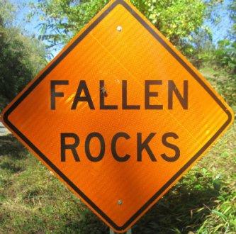 Image result for fallen rocks sign