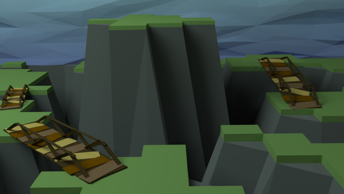 Low poly Shattered Plains scenery with bridges