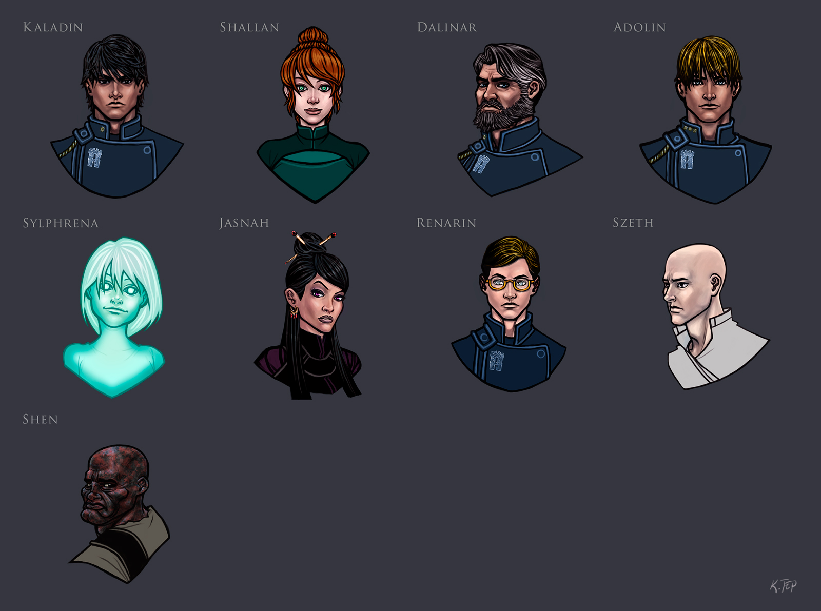 Stormlight Archive character portraits