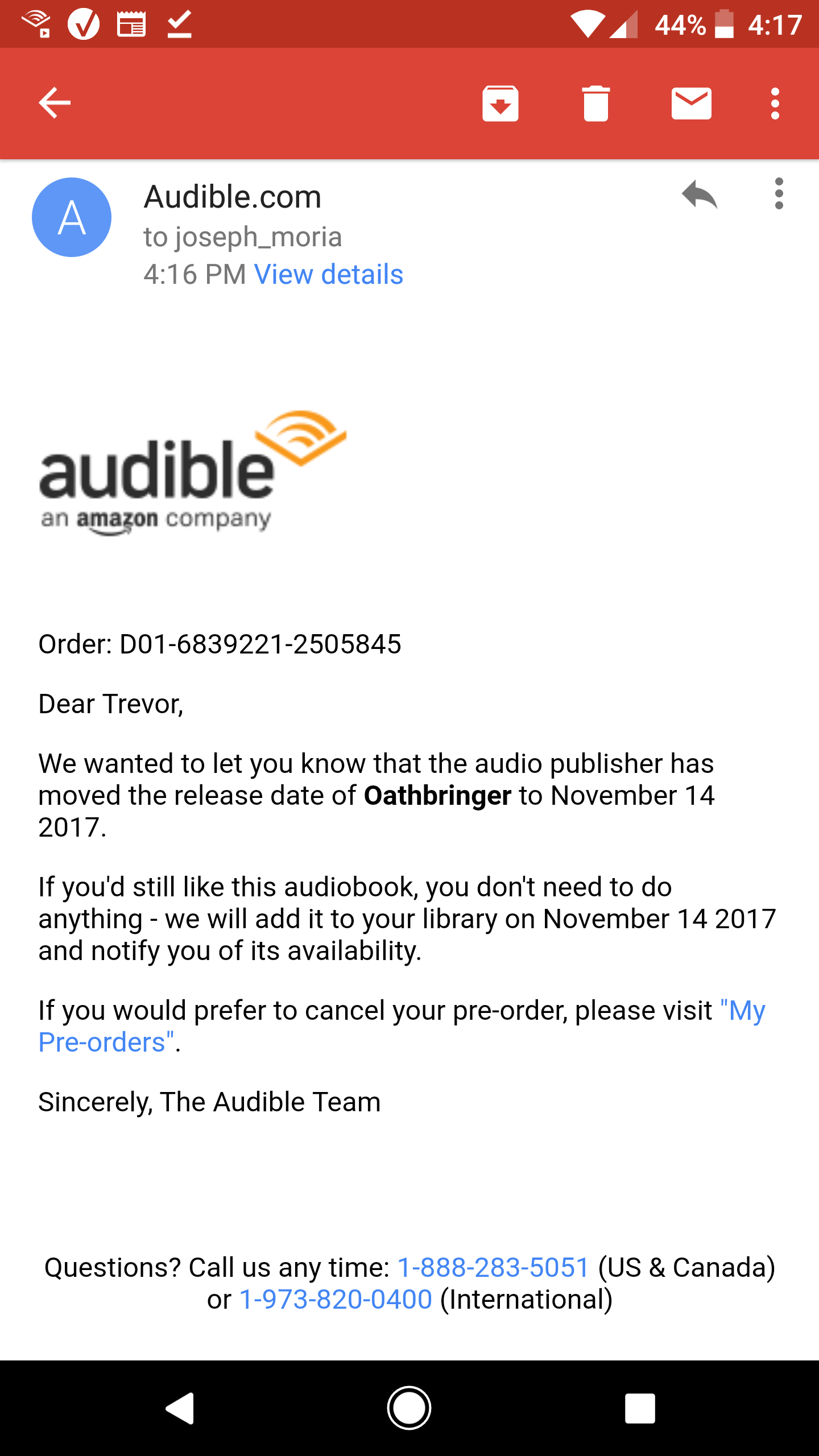 OB] Thanks for the mini heart attack audible  - Stormlight Archive