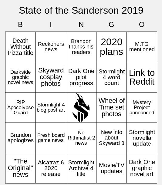 State of the Sanderson 2019 Bingo