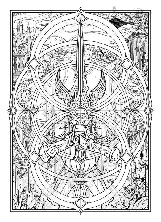 Ilustración-a-líneas-para-la-portada-de-Infinity-Blade-por-Jian-Guo.jpg